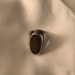 Sterling Silver And Wood Ring